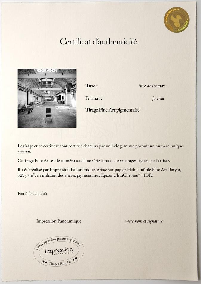 certificat d authenticit pour vos tirages fine art num rot s. Black Bedroom Furniture Sets. Home Design Ideas